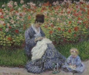 Camille Monet e un figlio nel giardino dell'artista a VŽtheuil, 1875